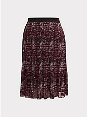 Plus Size Burgundy Purple Snakeskin Print Pleated Midi Skirt, SNAKE - GREY, hi-res