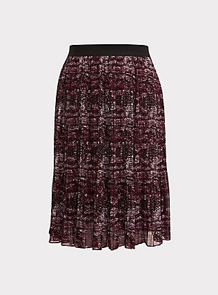 Burgundy Purple Snakeskin Print Pleated Midi Skirt, SNAKE - GREY, flat