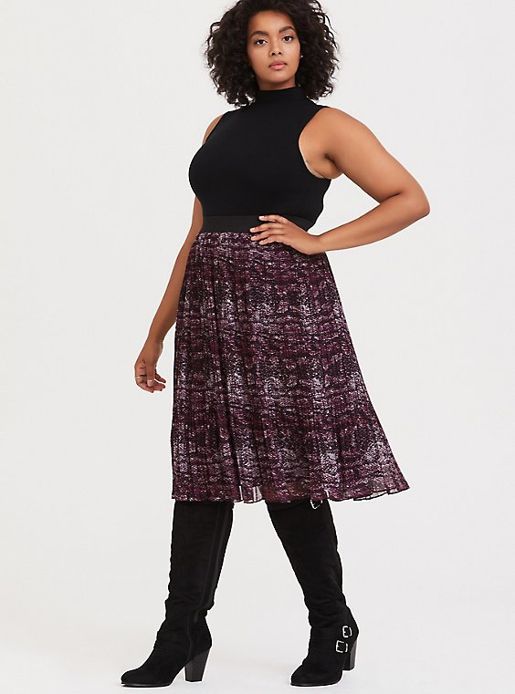 Burgundy Purple Snakeskin Print Pleated Midi Skirt, , hi-res