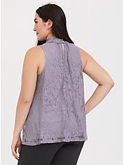 Dusty Purple Lace Mock Neck Sleeveless Top, MINIMAL GRAY, alternate