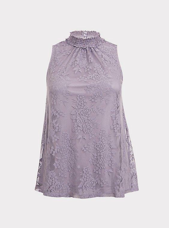 Dusty Purple Lace Mock Neck Sleeveless Top, , flat