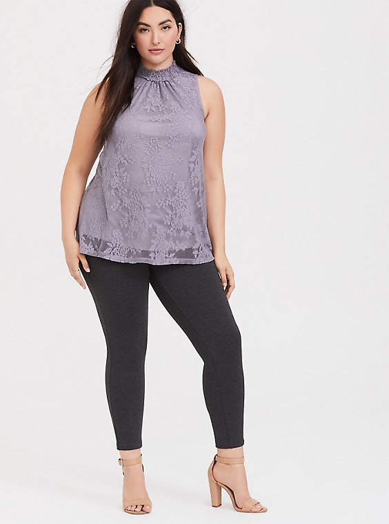 Dusty Purple Lace Mock Neck Sleeveless Top, , hi-res