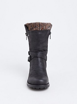Black Brushed Faux Leather Sweater Trimmed Moto Boot (WW), BLACK, alternate