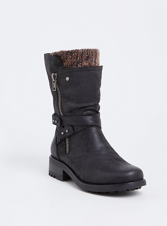 Black Brushed Faux Leather Sweater Trimmed Moto Boot (Wide Width), , hi-res