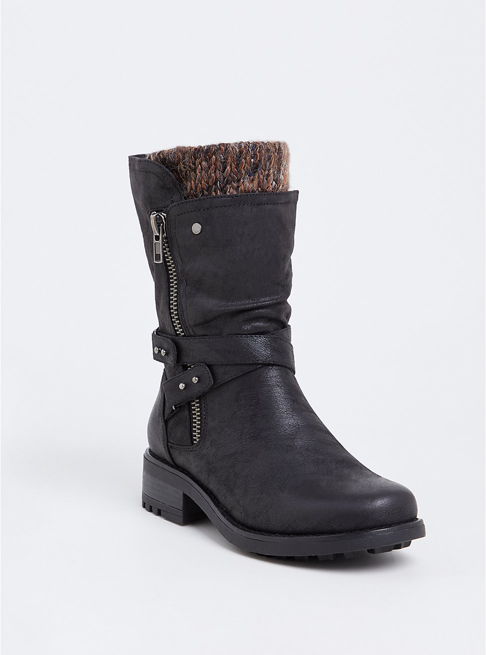 Black Brushed Faux Leather Sweater Trimmed Moto Boot (WW), BLACK, hi-res