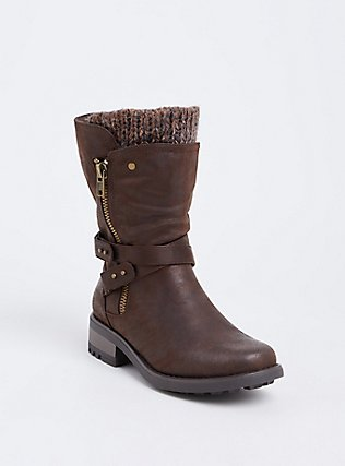 Brown Faux Leather Buckle Sweater Bootie (Wide Width), BROWN, hi-res