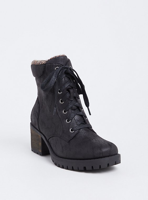Black Faux Leather Sweater Trimmed Hiker Boot (Wide Width), , hi-res