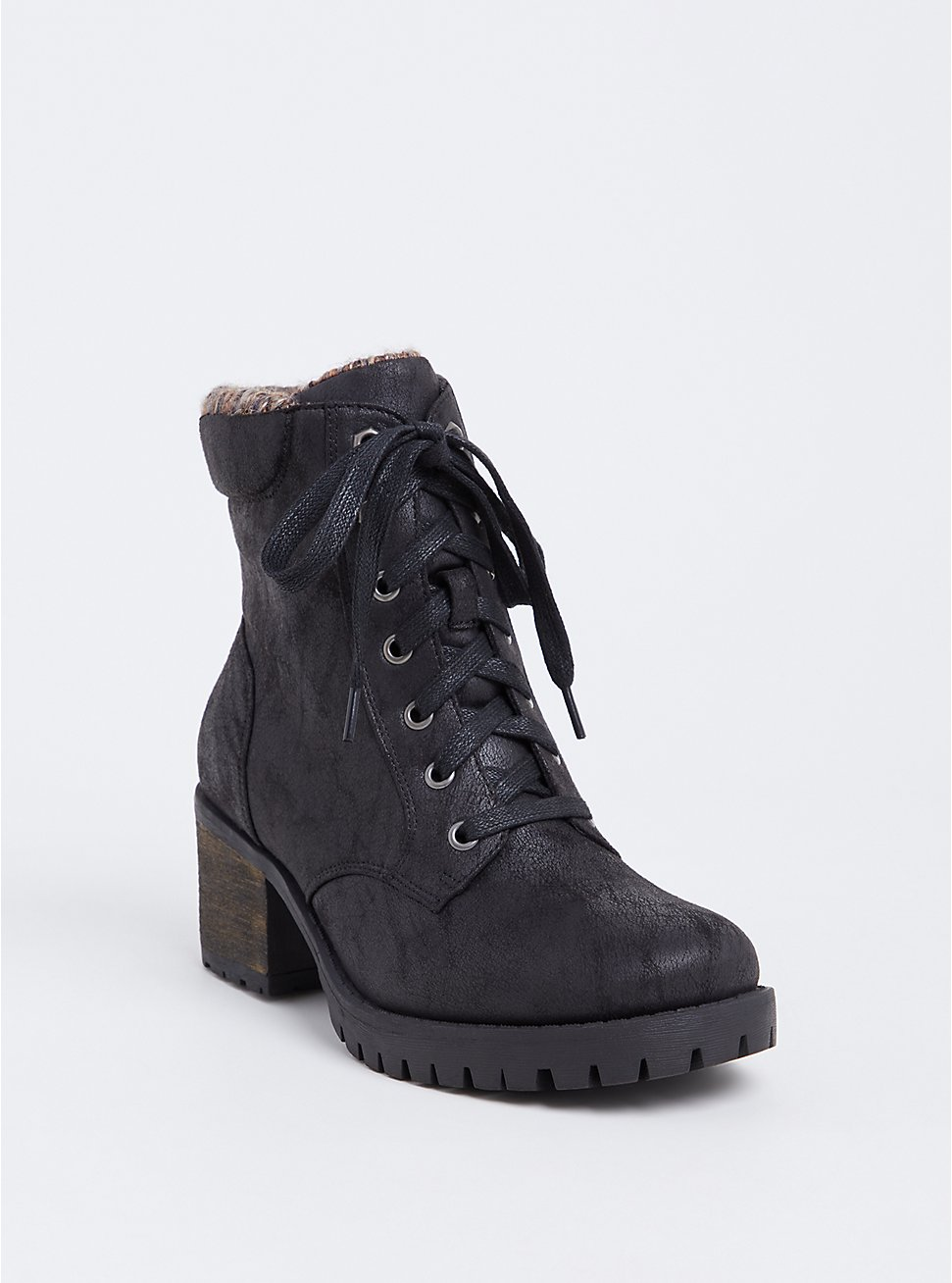 Black Faux Leather Sweater Trimmed Hiker Boot (WW), BLACK, hi-res