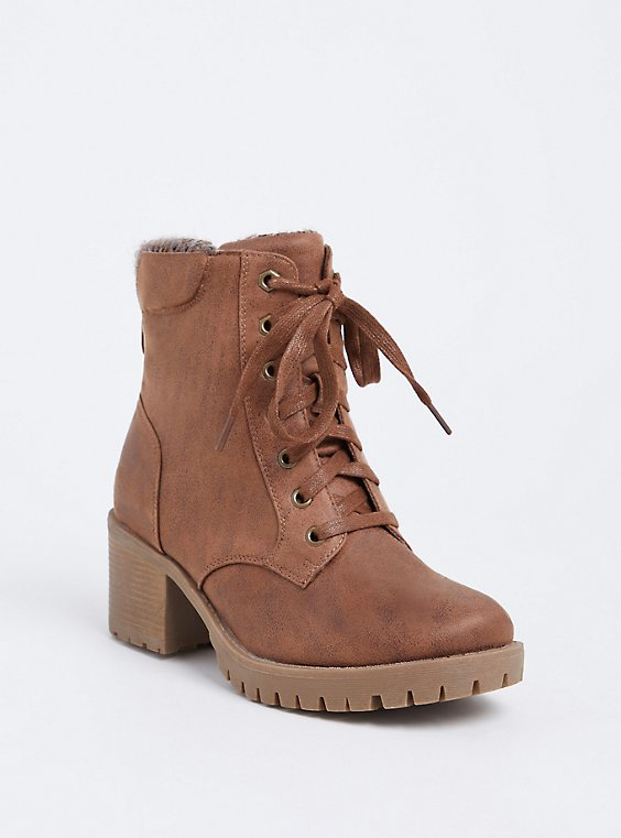 Brown Faux Leather Sweater Trimmed Hiker Boot (Wide Width), , hi-res