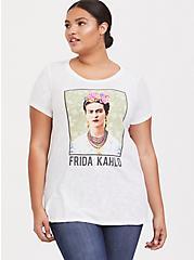 Frida Kahlo White Slub Crew Tee, CLOUD DANCER/ MELIA FLORAL EMBD, alternate