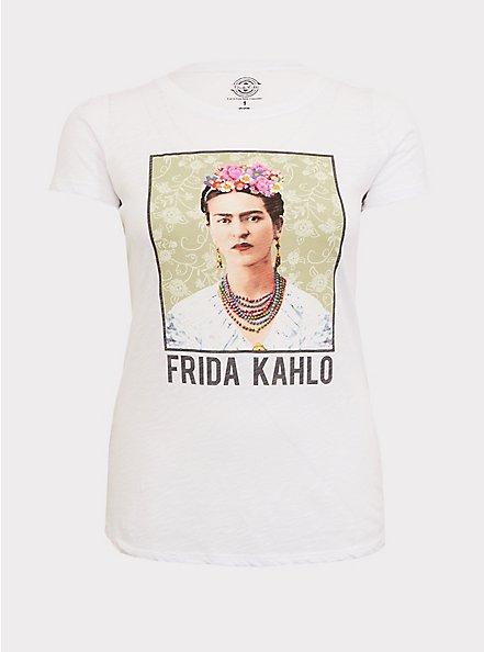 Frida Kahlo White Slub Crew Tee, CLOUD DANCER/ MELIA FLORAL EMBD, hi-res