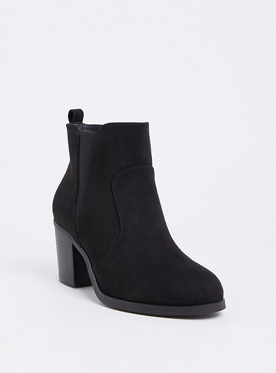 Black Faux Suede Pointed Toe Bootie (WW), , hi-res