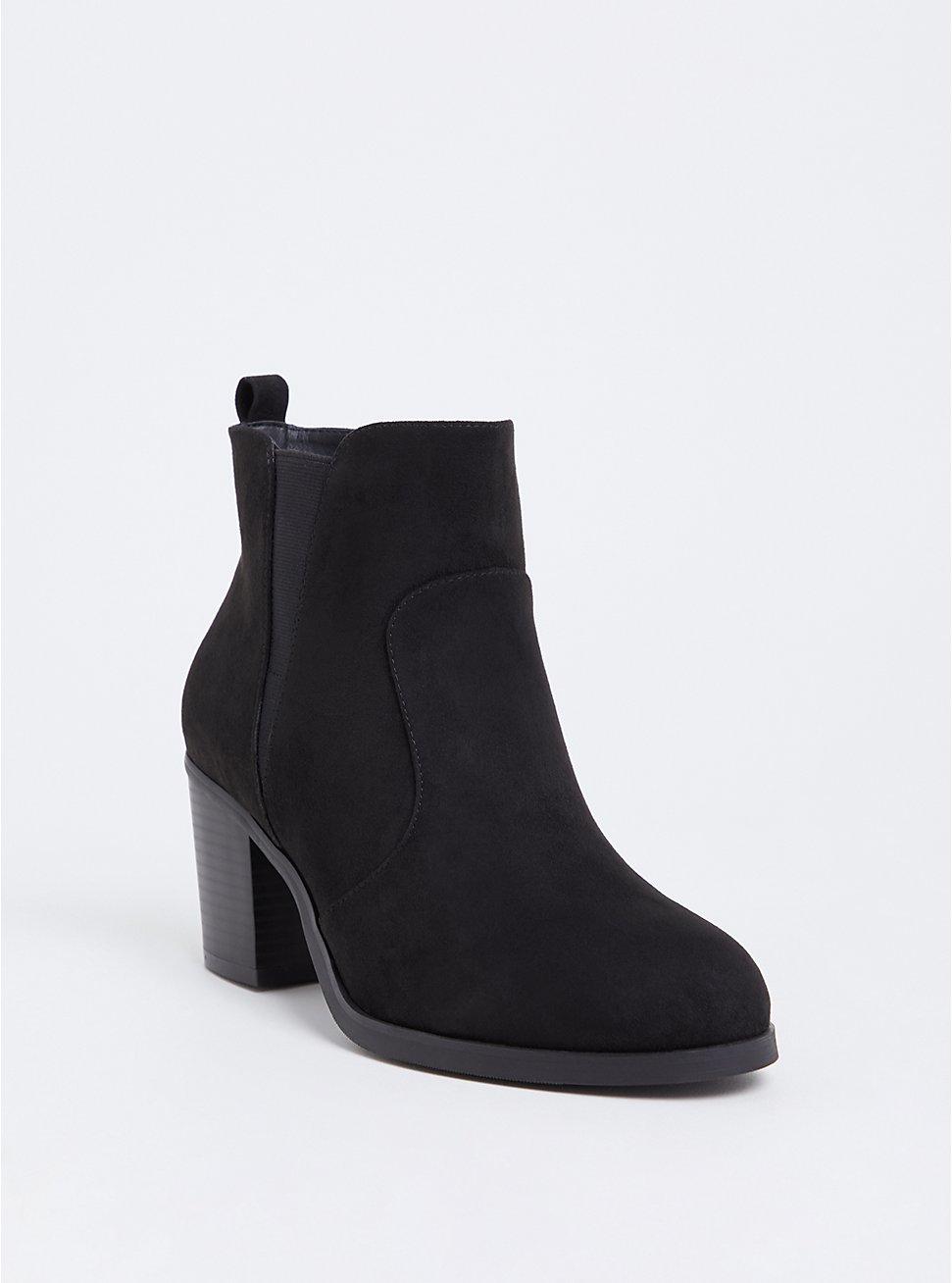 Black Faux Suede Pointed Toe Bootie (WW), BLACK, hi-res