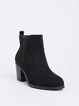 Black Faux Suede Pointed Toe Bootie (Wide Width), BLACK, hi-res