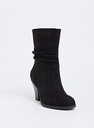 Black Faux Suede Cone Heel Bootie (Wide Width), BLACK, hi-res