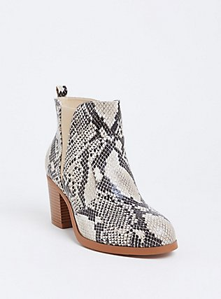 Snakeskin Print Faux Leather Western Bootie (Wide Width), ANIMAL, hi-res