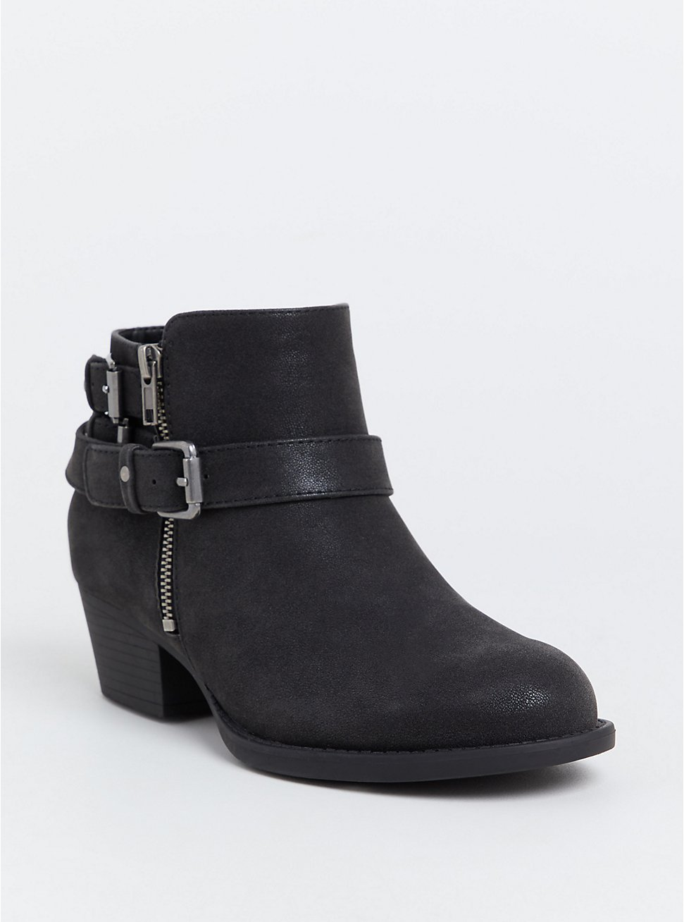 Black Brushed Faux Leather Hardware Buckle Bootie (WW), BLACK, hi-res