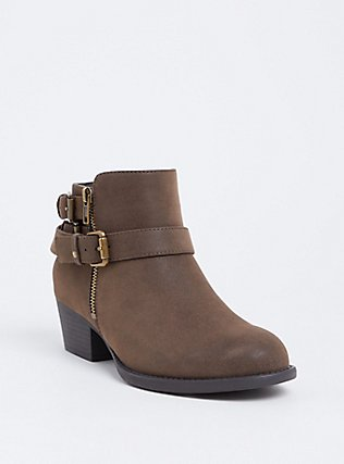 Brown Brushed Faux Leather Buckle Bootie (Wide Width), BROWN, hi-res