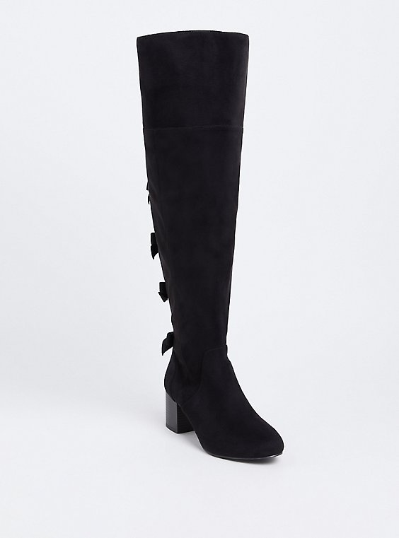 Plus Size Black Faux Suede Bow Back Over-The-Knee Boot (Wide Width & Wide to Extra Wide Calf), , hi-res
