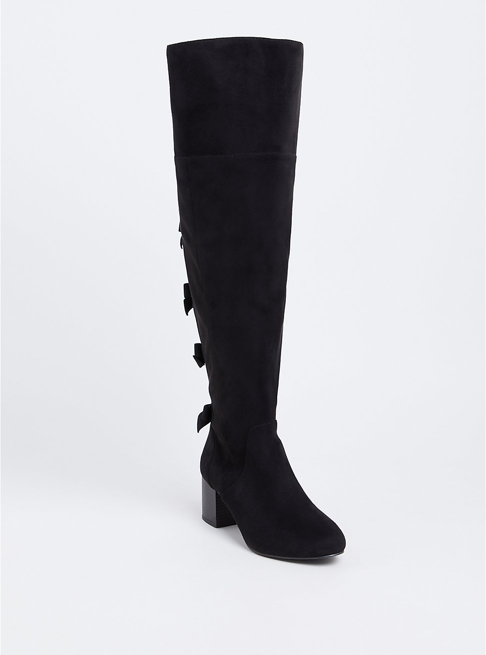 Black Faux Suede Bow Back Over-The-Knee Boot (Wide Width & Wide to Extra Wide Calf), BLACK, hi-res