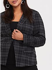 Grey & Black Plaid Double-Knit Blazer, PLAID, alternate