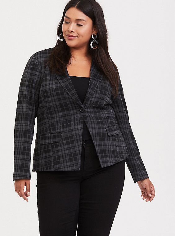Plus Size Grey & Black Plaid Double-Knit Blazer, , hi-res