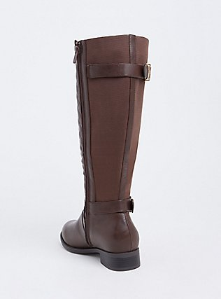 Brown Faux Leather Quilted Strappy Knee-High Boot (WW), BROWN, alternate