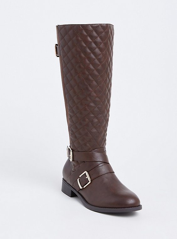 Plus Size Brown Faux Leather Quilted Strappy Knee-High Boot (WW), , hi-res