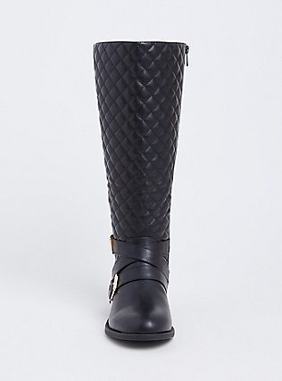 Black Faux Leather Quilted Strappy Knee-High Boot (WW), BLACK, alternate