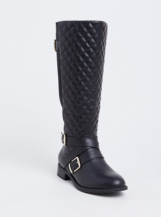 Black Faux Leather Quilted Strappy Knee-High Boot (Wide Width), , hi-res