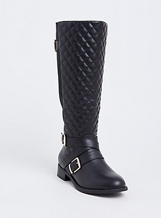 Black Faux Leather Quilted Strappy Knee-High Boot (Wide Width), BLACK, hi-res