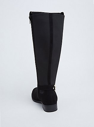 Black Faux Suede Knee-High Riding Boot (WW & Wide to Extra Wide Calf), BLACK, alternate