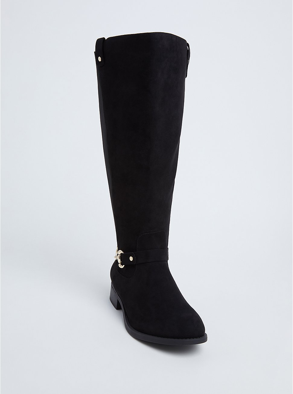 Black Faux Suede Knee-High Riding Boot (Wide Width & Wide to Extra Wide Calf), BLACK, hi-res