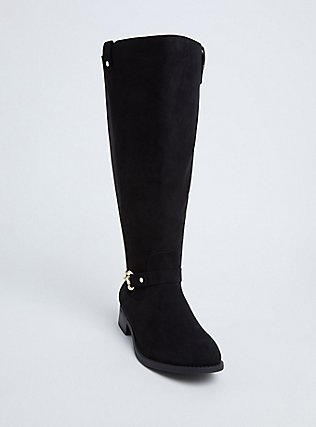 Black Faux Suede Knee-High Riding Boot (WW & Wide to Extra Wide Calf), BLACK, hi-res