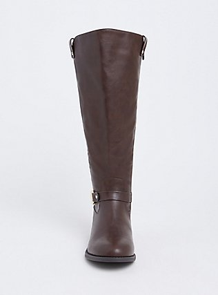 Chocolate Brown Faux Leather Knee-High Riding Boot (WW & Wide to Extra Wide Calf), BROWN, alternate