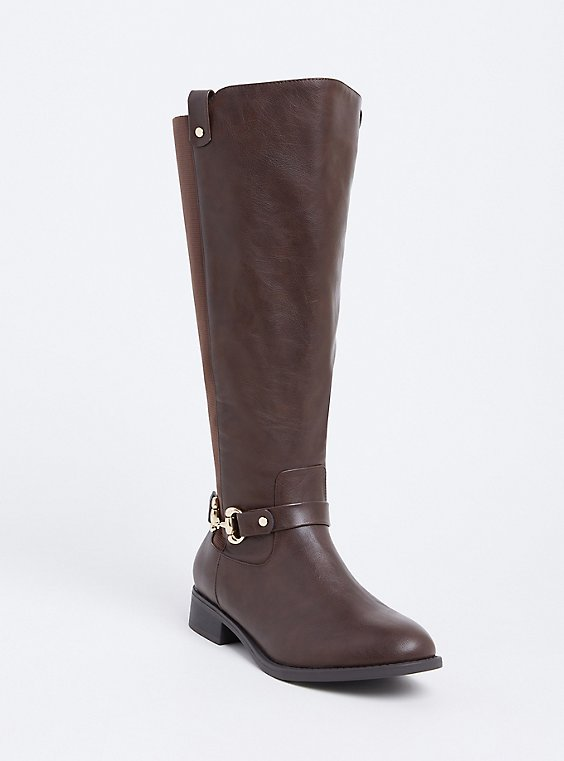 Brown Faux Leather Knee-High Riding Boot (Wide Width & Wide to Extra Wide Calf), , hi-res