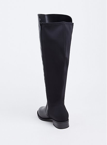 Plus Size Black Faux Leather Stretch Back Over-the-Knee Boot (WW), BLACK, alternate