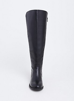 Black Faux Leather Stretch Back Over-the-Knee Boot (Wide Width), BLACK, alternate