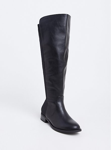 Plus Size Black Faux Leather Stretch Back Over-the-Knee Boot (WW), BLACK, hi-res