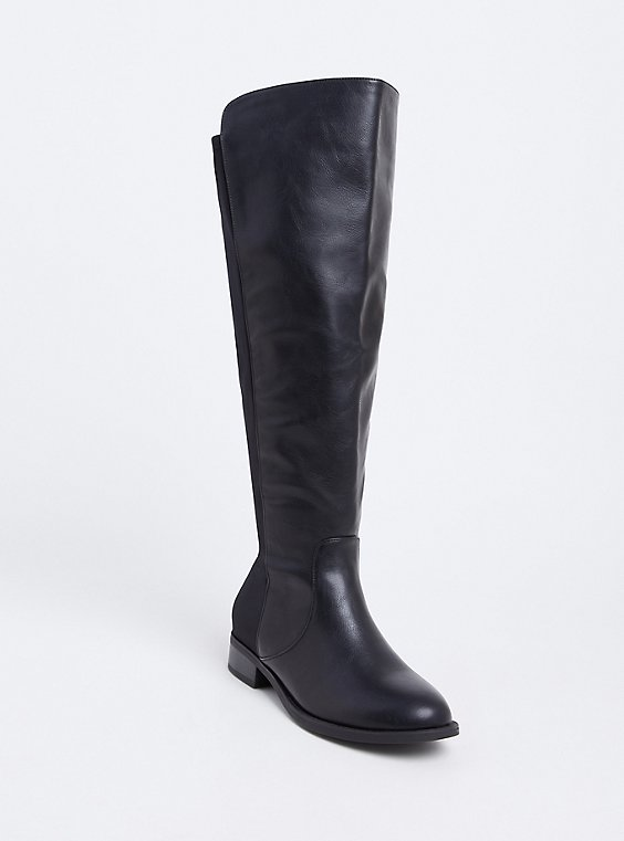 Black Faux Leather Stretch Back Over-the-Knee Boot (Wide Width), , hi-res