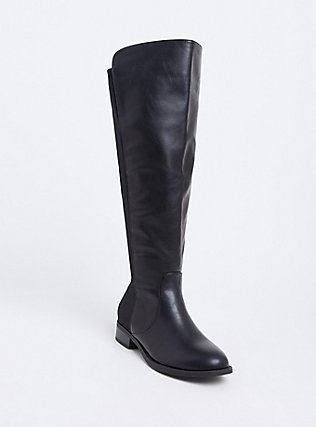 Black Faux Leather Stretch Back Over-the-Knee Boot (Wide Width), BLACK, hi-res