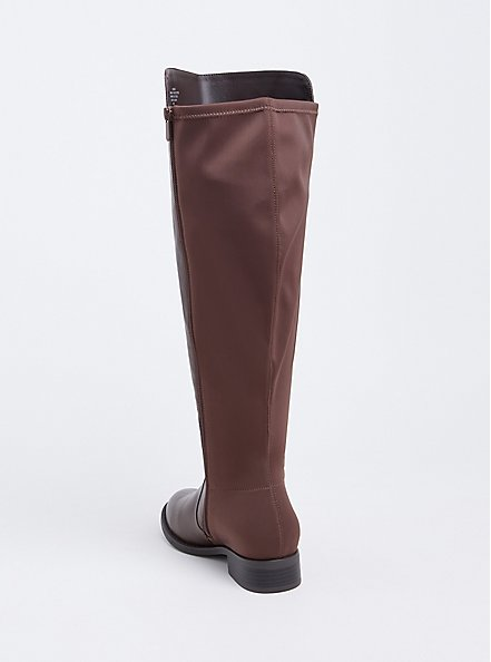 Plus Size Brown Faux Leather Stretch Back Over-the-Knee Boot (WW) , BROWN, alternate