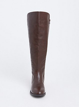 Brown Faux Leather Stretch Back Over-the-Knee Boot (WW) , BROWN, alternate