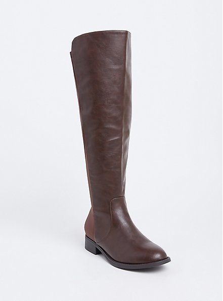 Plus Size Brown Faux Leather Stretch Back Over-the-Knee Boot (WW) , BROWN, hi-res