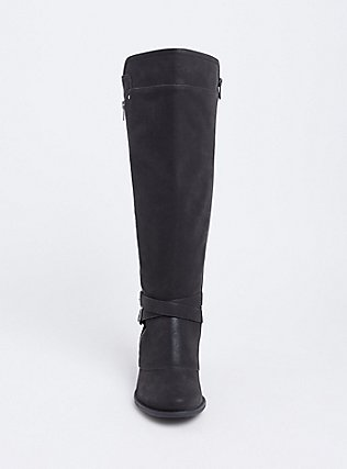 Black Faux Suede Buckle Knee-High Boot (WW & Wide To Extra Wide Calf), BLACK, alternate