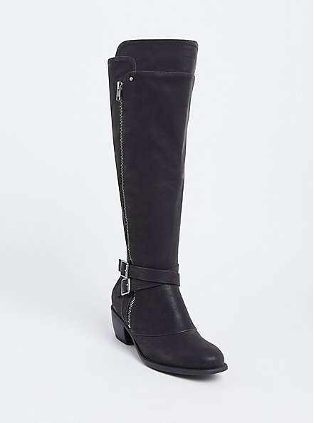Black Faux Suede Buckle Knee-High Boot (WW & Wide To Extra Wide Calf), BLACK, hi-res
