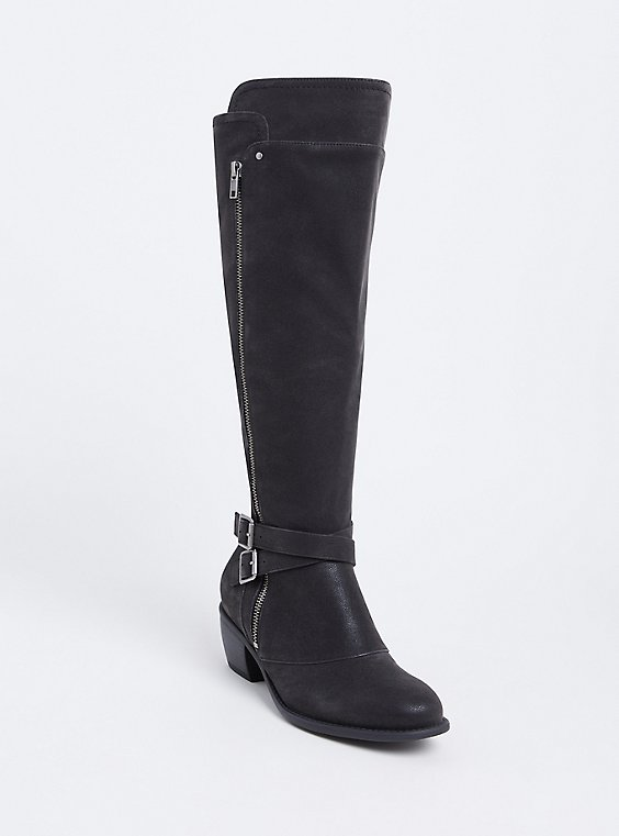 Black Faux Suede Buckle Knee-High Boot (Wide Width & Wide To Extra Wide Calf), , hi-res