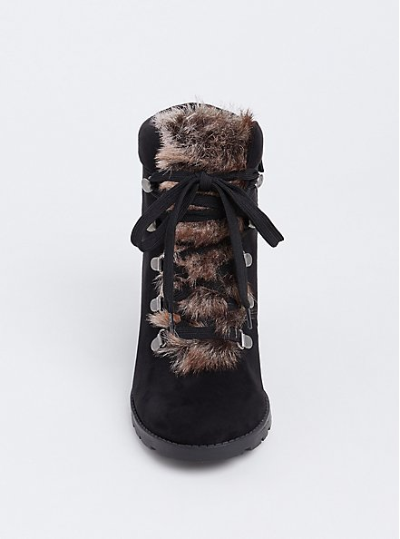 Black Faux Fur Wedge Bootie (Wide Width), BLACK, alternate