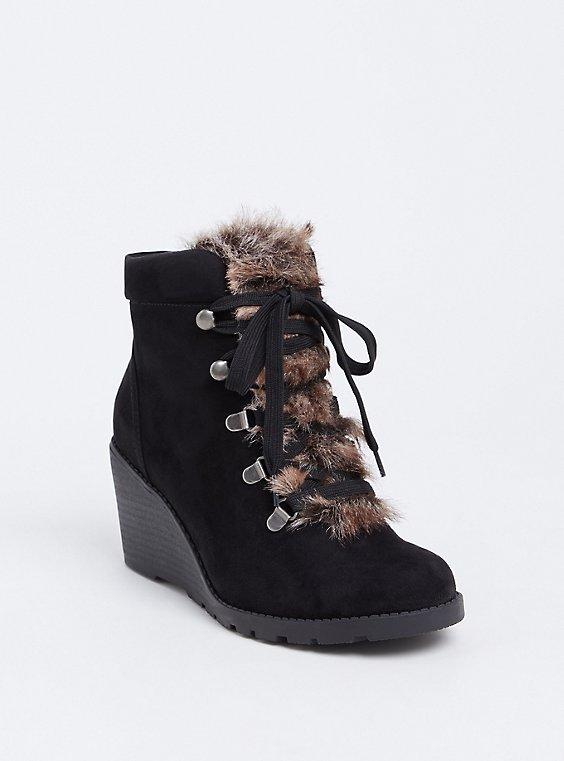 Black Faux Fur Wedge Bootie (Wide Width), , hi-res