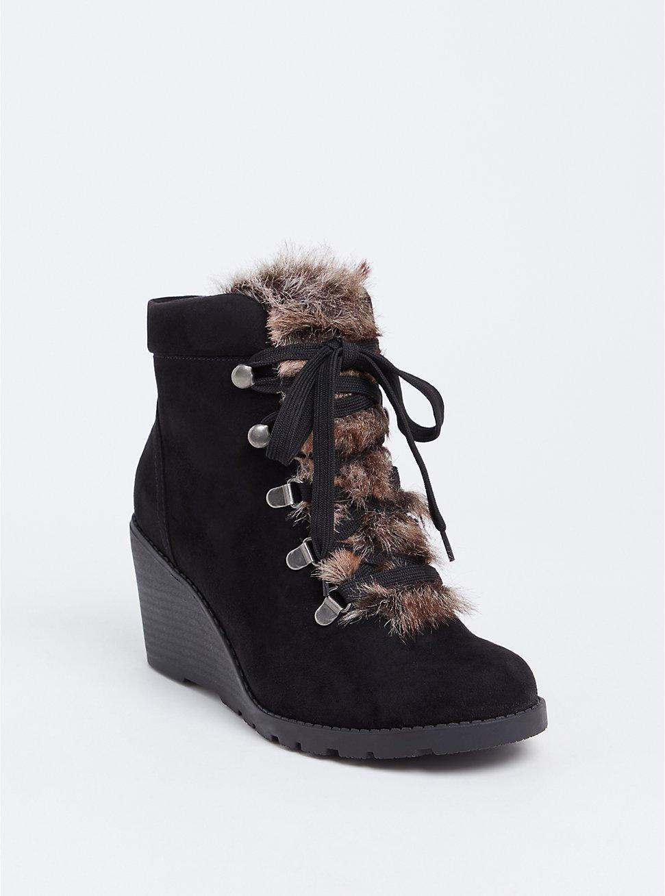 Black Faux Fur Wedge Bootie (WW), BLACK, hi-res